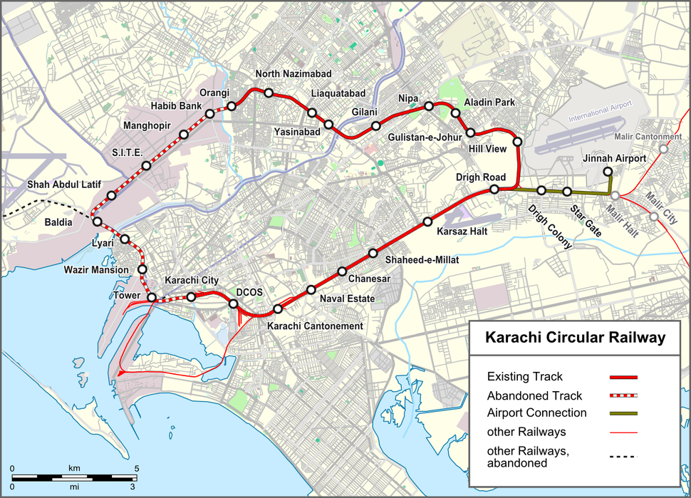 Karachi Circular Railway map