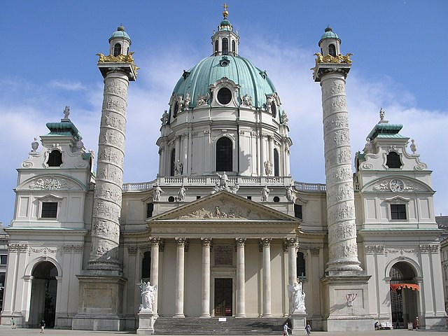 The Karlskirche in Vienna (Austria), built between 1716 and 1737