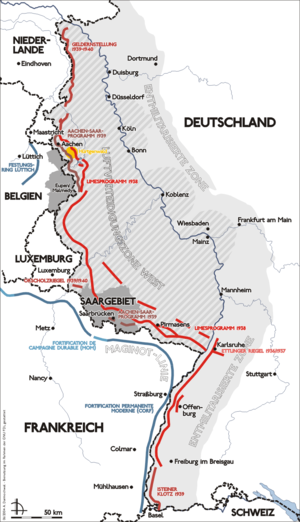 Siegfried Line - Map of the Siegfried line