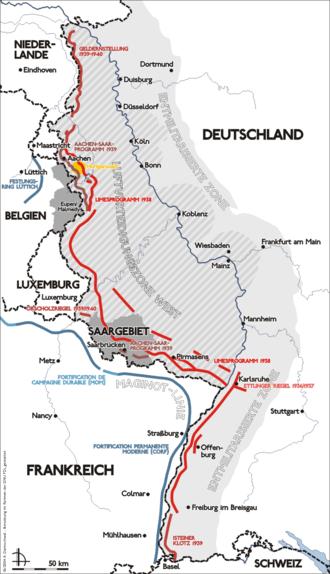 Siegfried Line - Map of the Siegfried line