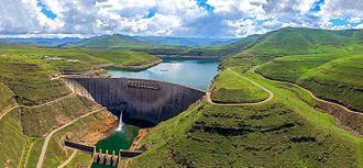 Arch dam - The Katse Dam, a 185m high concrete arch dam in Lesotho.