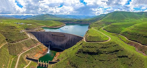 The winning photograph from the 2016 Wiki From Above competition of the Katse Dam in Lesotho.