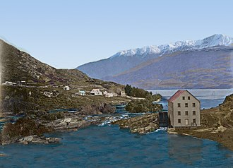 James William Robertson - This colourised photo shows the Brunswick Flour Mill opened in 1867. Across the Kawarau River can be seen the homestead founded by Queenstown Pioneer William Rees.