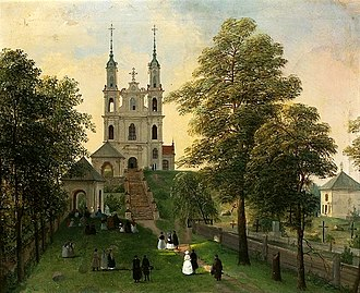 Verkiai Calvary, c. 1840s. It was built as a sign of gratitude for the victory in the Second Northern War. Khrutsky Vilnius Calvary.jpg