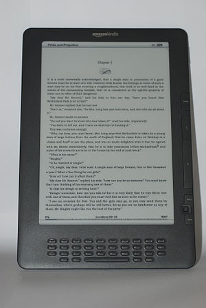 English: Amazon Kindle DX Graphite displaying ...