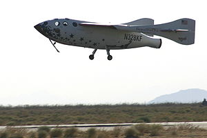 2004 in spaceflight - SpaceShipOne landing after Flight 15P, the first privately funded manned spaceflight
