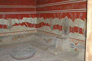 Η αίθουσα του θρόνου στην Κνωσσό.