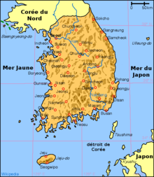 Description de l'image Korea south map-fr.png.