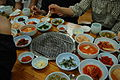 Korean barbecue-Grill and banchan.jpg