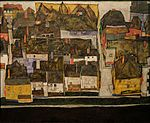 Krumau on the moldova (Small town III) Egon Schiele 1914.jpg