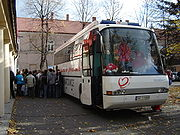 A blood collection in Poland. Blood banks sometimes use modified recreational vehicles to provide a site for donation.