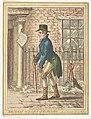 Kunstverzamelaar voor de ingang van Christie's, Pall Mall Londen Maecenas, in pursuit of the Fine Arts, RP-P-2015-26-487.jpg