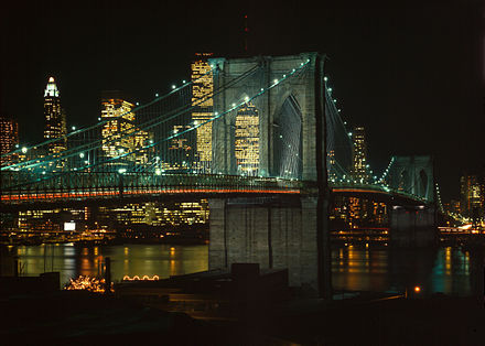 The Brooklyn Bridge, the first of multiple crossings constructed across the East River, connects Long Island with Manhattan Island (background). LOC Brooklyn Bridge and East River Edit 3.jpg