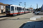 L Taraval trains laying over on 47th Avenue, September 2016.jpg