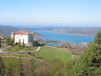 Aiguines - Château d'Aiguines and the Lac de Sainte-Croix