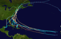 Track map of all storms known to have made landfall in the state of New York
