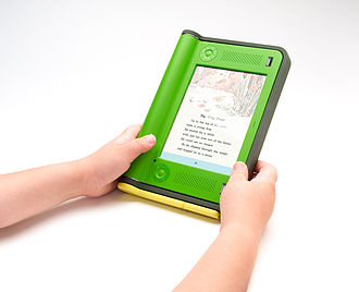 Pagination - A user viewing an electronic page on in eBook reading device, one of several devices that display electronic pages