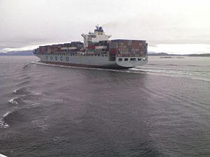Large container ship off the coast of BC