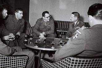 E. L. M. Burns - E.L.M. Burns meeting General Haim Laskov in Tel Aviv in 1959.