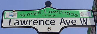 Lawrence Avenue - A Lawrence Avenue West street sign at Yonge Street.
