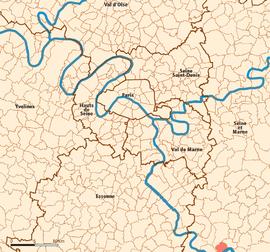 Lage (in rot) in den inneren und äußeren Vororten von Paris