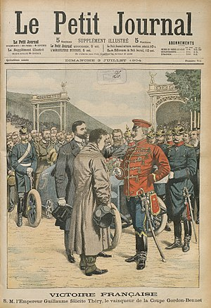 Léon Théry - French Victory Emperor Wilhelm congratulates the winner of the Gordon-Bennett Cup.  Le Petit Journal, 3 July 1904.