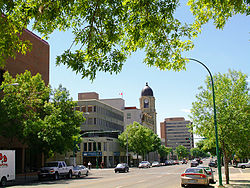 Downtown Lethbridge as seen on 4 Avenue south facing west