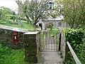 Letter box and church gateway, St Gennys - geograph.org.uk - 1387405.jpg