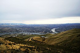 Lewiston ID and Clarkston WA city and rivers view 2006.jpg