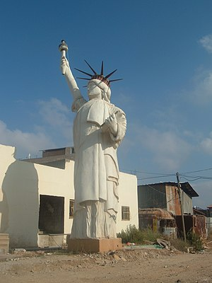 A copy of the Statue of Liberty in the village of Arrabe, Israel
