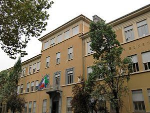"""Liceo classico Cavour -  Liceo Ginnasio statale """"Camillo Benso di Cavour"""", corso Tassoni 15, 10143 Turin, Italy. Main entrance (1931)."""