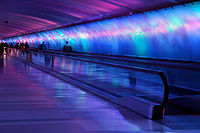 Colorful pedestrian Light Tunnel at Detroit's DTW airport.