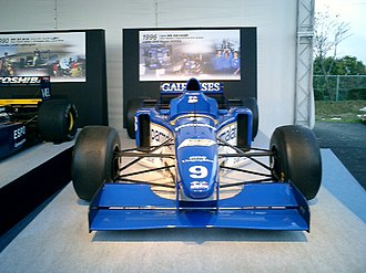 Equipe Ligier - Ligier's last F1 car, the JS43, on display. Driven by Olivier Panis and Pedro Diniz, it provided Panis's only F1 victory and Ligier's last, at the 1996 Monaco Grand Prix.