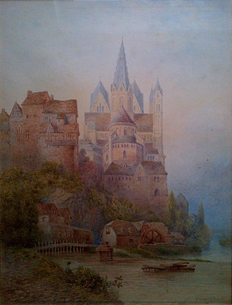 Limburg Cathedral - Limburg Cathedral and castle painted by Lewis Pinhorn Wood, when the cathedral was grey