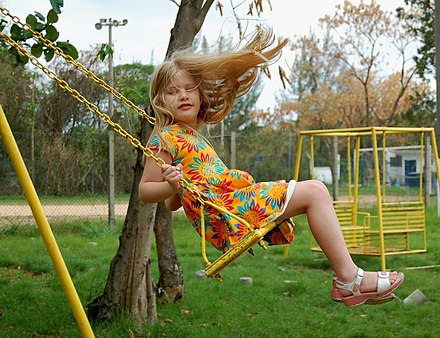 Pushing a person in a swing is a common example of resonance. The loaded swing, a pendulum, has a natural frequency of oscillation, its resonant frequency, and resists being pushed at a faster or slower rate. Little girl on swing.jpg