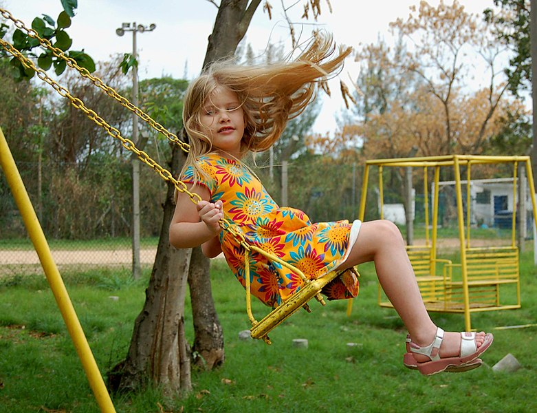 File:Little girl on swing.jpg