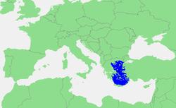 מיקומו של הים האגאי בכחול