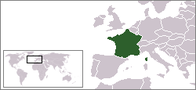 A map showing the location of France