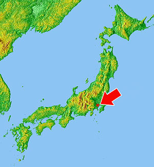 Location of Tokyo in Japan