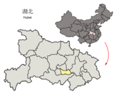 Location of Xiantao within Hubei (China).png