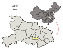 Location of Xiantao City jurisdiction in Hubei