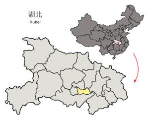 Xiantao - Image: Location of Xiantao within Hubei (China)