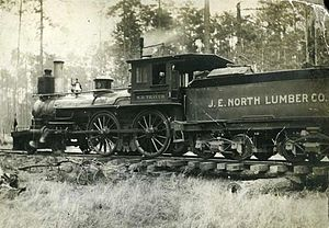 Bond, Mississippi - Locomotive of the J.E. North Lumber Company, circa 1907