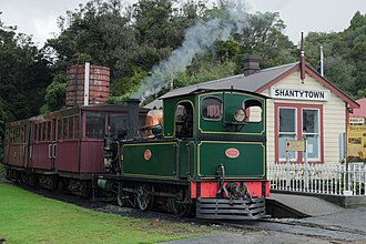 Shantytown Heritage Park - Vintage train at Shantytown station