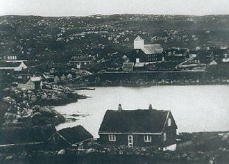 Tórshavn - Tórshavn in 1864, the Løgting is on top left