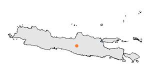 Lokasi Surakarta di Pulau Jawa.