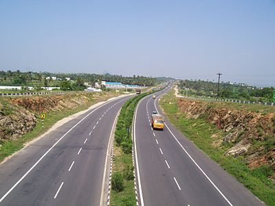 A view of the NH 544 Expressway between Coimbatore and Salem in Tamil Nadu Looking-down-National-Highway-Chittode-Junction.JPG
