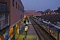 Louvain-la-Neuve train station track 1 during civil twilight (Belgium, DSCF4228).jpg