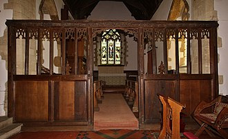 Lower Heyford - 15th-century chancel screen in St Mary's parish church, seen from the nave