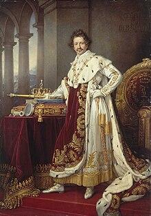 Ludwig I., König von Bayern, Gemälde von Joseph Karl Stieler, 1826, Darstellung im Krönungsornat (mit der Collane des Hubertusordens). Rechts oben das Motto Gerecht und beharrlich. (Quelle: Wikimedia)